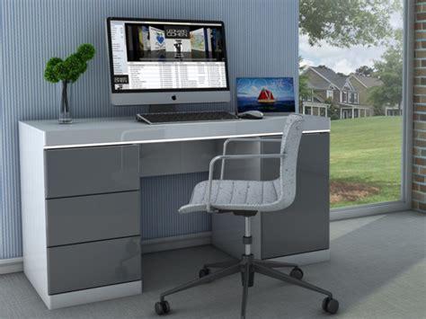 bureau et blanc bureau loic ii leds 1 porte 3 tiroirs blanc gris