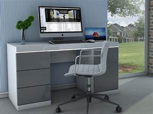Bureau But Blanc : bureau loic ii leds 1 porte 3 tiroirs blanc gris ~ Teatrodelosmanantiales.com Idées de Décoration