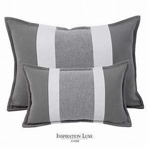 Coussin Pour Canapé Gris : coussin rectangulaire de luxe ray gris et blanc 2 tailles au choix ~ Teatrodelosmanantiales.com Idées de Décoration