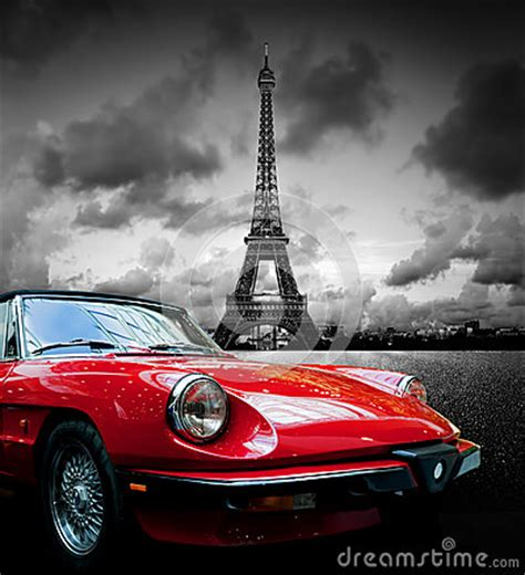 effel tower paris france  retro red car black