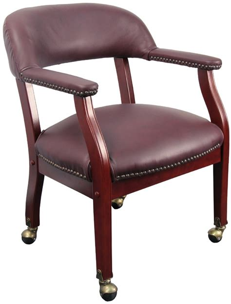 burgundy leather luxurious conference chair with casters