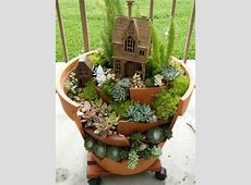 Fairy Gardens with Succulents from Broken Pots World of
