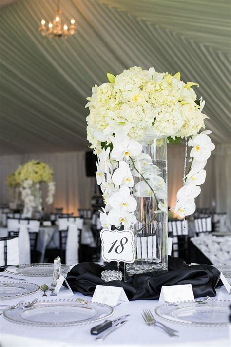 Tall White Orchid Hydrangea Centerpiece