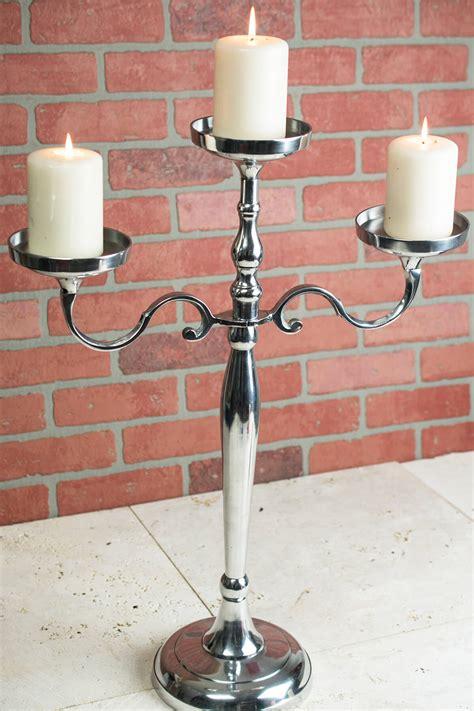 pillar candle holder  arm  silver candelabra