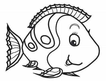 Outline Fish Clipart Coloring Clip Cartoon Pages