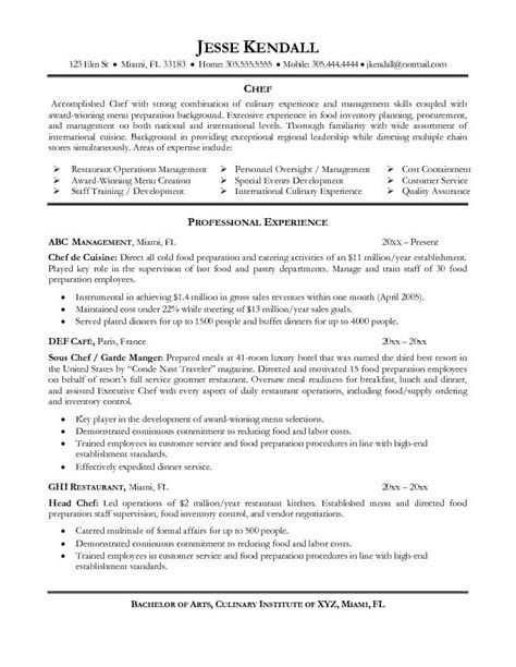 chef de cuisine description chef resume exles resume is needed by almost