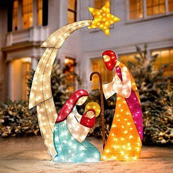 lighted outdoor nativity sets buy set of 2 5ft lighted shimmering glitter tinsel nativity with trumpet horn