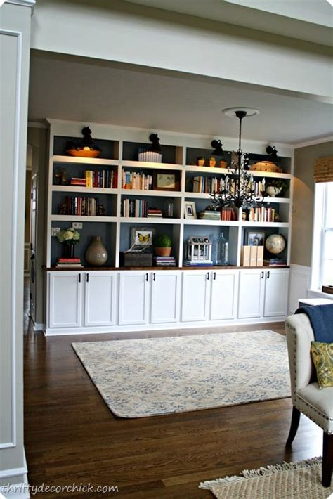 diy built in library bookcases using stock kitchen cabinets diy built ins for