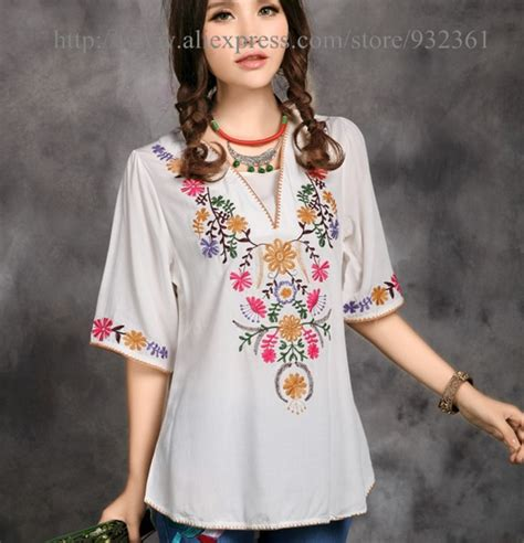 vintage 70s mexican ethnic flower embroidery t shirt