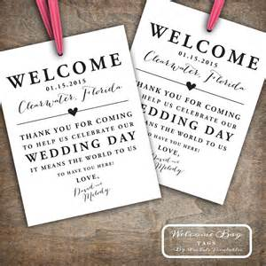 welcome to our wedding bags custom printable wedding welcome bag tags labels hotel