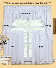 white battenburg lace kitchen curtain valance tier swag
