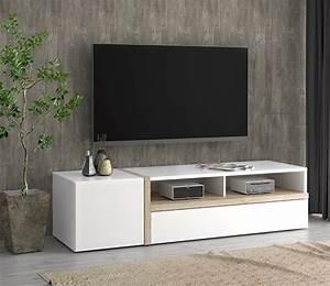 Meuble Tv Chene Clair : meuble tv bianko blanc brillant chene clair ~ Teatrodelosmanantiales.com Idées de Décoration