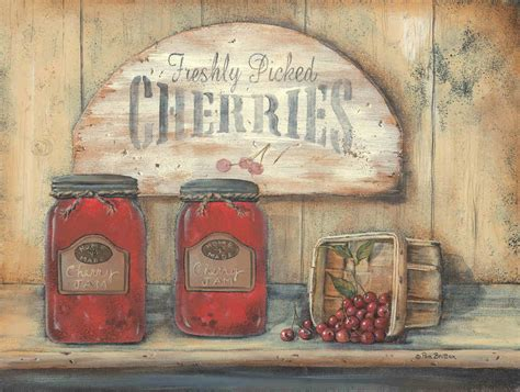 country kitchen prints cherry jam freshly picked cherries by pam britton 2866