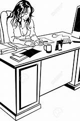 Computer Desk Drawing Working Young Getdrawings sketch template