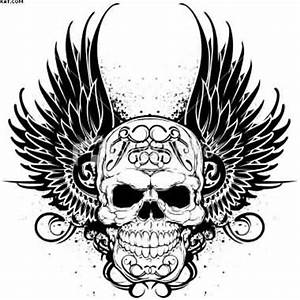 Crown And Skull Wings Tattoo Stencil | Tattoobite.com ...