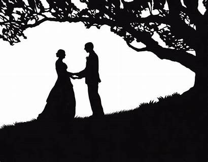 Silhouette Tree Oak Under Couple Silhouettes Portrait