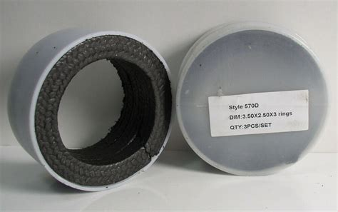 (3) Style 570d Black Braided Rope Gasket Ptfe Shaft Seal 3
