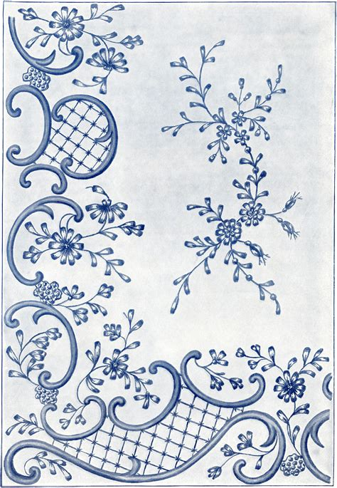 victorian embroidery fancy stitches design  swirls  flowers  printable embroidery