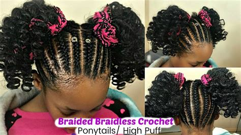 kids natural hairstlyes braidless crochet braided updo