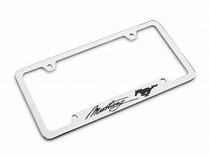 Ford Mustang License Plate Frame - Black Pony w/ Black Mustang Script FOD1-UF (79-19 All)