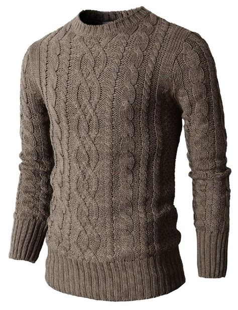 cable sweater mens mens casual knit crewneck pullover sweater with twisted