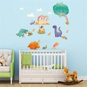 sticker dinosaures mignon stickers chambre enfants With chambre bébé design avec comment envoyer des fleurs pour un enterrement