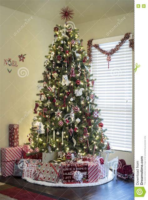 presents  christmas tree stock photo image