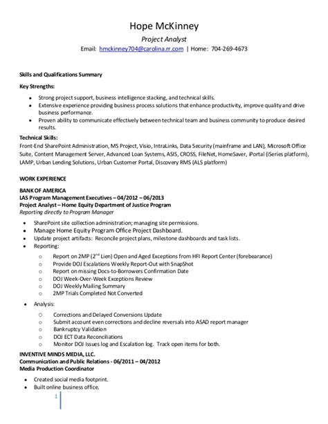 Mis Reporting Analyst Resume Sle by Proj Analyst Resume Hm 072013