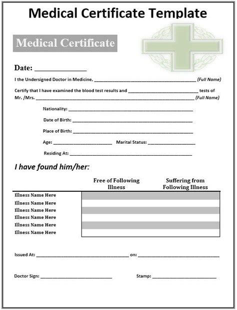 medical certificate template stationary templates gift