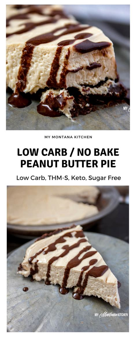 This decadent and indulgent creamy peanut butter pie is made with just a few ingredients. No Bake Low Carb Peanut Butter Pie (THM-S, Keto, Sugar Free, Gluten Free) #trimhealthymama #thm ...