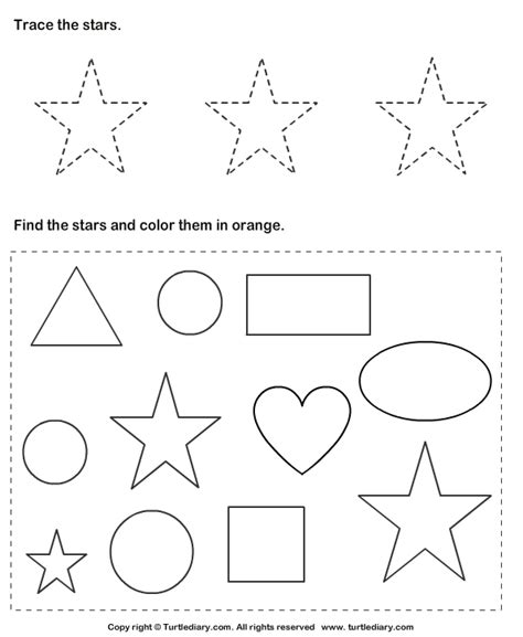Trace Stars And Color Them Worksheet  Turtle Diary