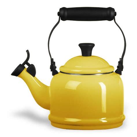 le creuset enameled steel demi tea kettle  quart dijon cutlery