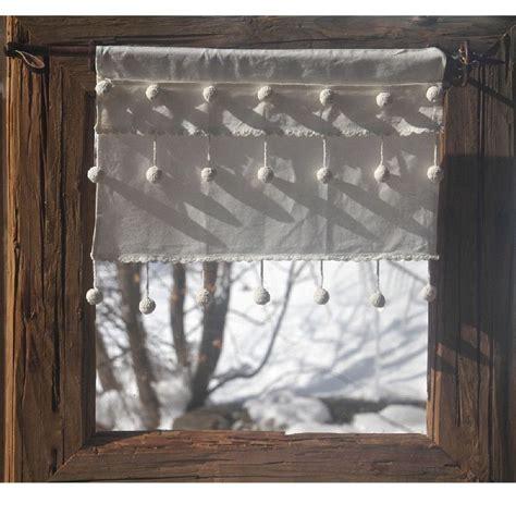 rideau brise bise coton blanc droit 3 rang 233 es de pompons les sculpteurs du lac