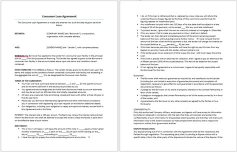 consumer loan agreement template word templates