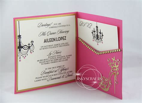 elegant pink square pocketfold invitation jinkys crafts