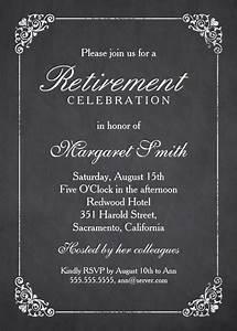 elegant chalkboard retirement party invitation template With retirement luncheon invitation template