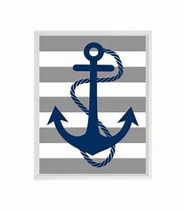 Anchor Art Print Navy Blue Gray Stripes Nautical Nursery