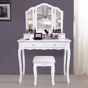 Meuble Pour Se Maquiller : superbe grande coiffeuse table de maquillage style champ tre avec 3 miroir 4 tiroirs et 1 ~ Dallasstarsshop.com Idées de Décoration