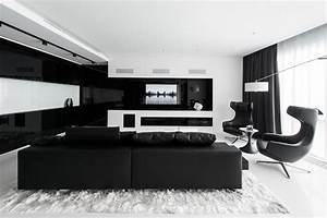Stunning, Black, And, White, Apartment, In, Moscow