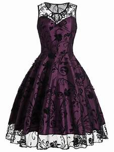 purplish red xl tulle floral tea length vintage party With rosegal robe vintage