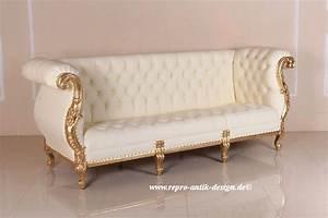 Barock Sofa Weiß : barock sofa eliana 3 sitzer in creme wei belegt mit blattgold sofas sofas sessel ~ Frokenaadalensverden.com Haus und Dekorationen