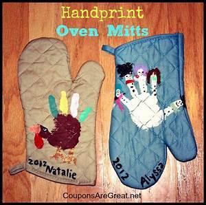 Gift Idea Handprint Oven Mitts Turkeys and snowmen make