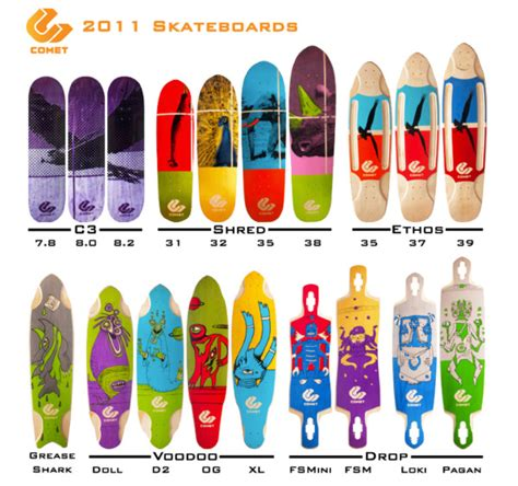 types of longboard decks comet skateboards and thier new 2011 line are radical on