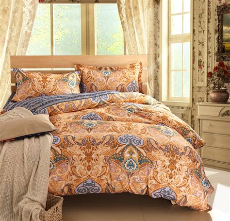 Luxury Comforter Sets Paisley Bed Linen Brown Bedding Sets