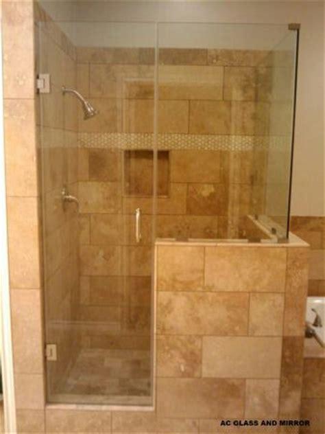 shower  frameless glass pony wall bathroom