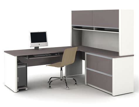l shaped office desk modern l shaped white gray solid wood desk with shelf and