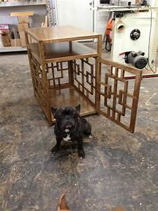 handmade dog crate side table by saw tooth designs llc With mid century modern dog crate