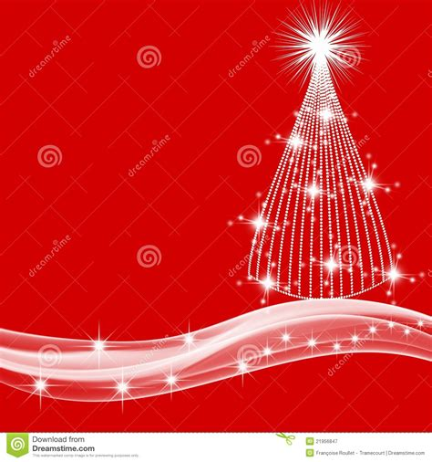 white christmas tree  stars  red background stock
