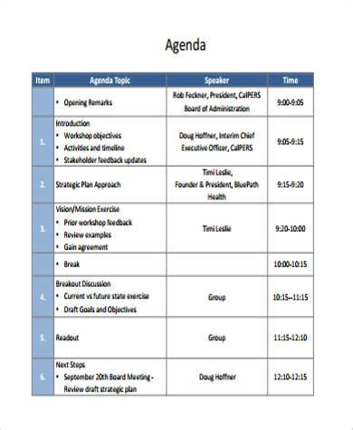 training seminar agenda template 9 workshop agenda exles sle templates