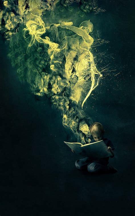 fantasy book reading boy android wallpaper